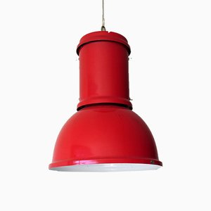 Large Vintage Industrial Red Pendant Lamp from Candle, 1980s