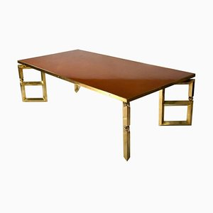 Brass and Burned Orange Coffee Table from Maison Jansen, 1970s