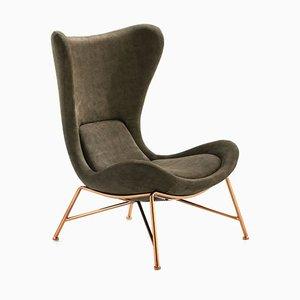 Green Upholstery and Golden Armchair by Zenza Art & Deco