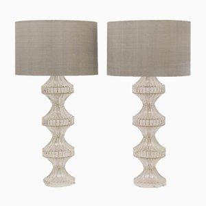 Italienische Glas Tischlampen, 1960er, 2er Set