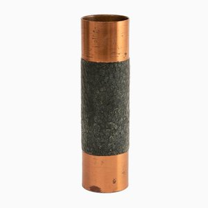 Copper West German Brutalist Cylindrical Vase, 1970s