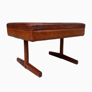 Mid-Century Norwegian Leather and Rosewood Footstool by Fredrik Kayser for Vatne Møbler