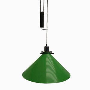 Large Green Ceiling Lamp with Counterweight