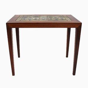 Rosewood & Dark Blue Tile Side Table by Severin Hansen for Royal Copenhagen, 1960s