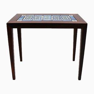 Table d'Appoint en Palissandre & Carreaux en Bleu Foncé par Severin Hansen pour Royal Copenhagen, 1960s