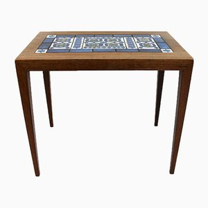 Rosewood & Dark Blue Tile Side Table by Severin Hansen for Royal Copenhagen, 1960s