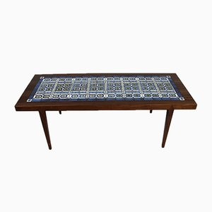 Rosewood & Dark Blue Tile Coffee Table by Severin Hansen for Royal Copenhagen, 1960s