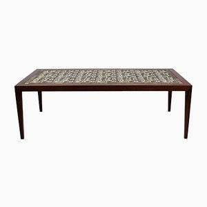 Rosewood & Brown Tile Coffee Table by Severin Hansen for Royal Copenhagen, 1960s