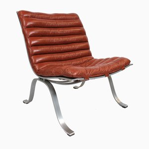 Red Leather & Steel Frame Ariet Easy Chair by Arne Norell, 1970s