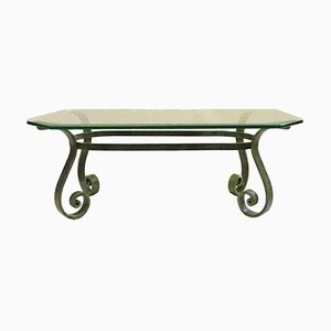 Hollywood Regency French Verdigris Iron and Glass Coffee Table, 1950s