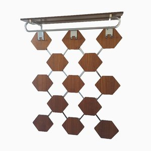 Mid-Century Danish Teak Wall Coat Rack, 1960s