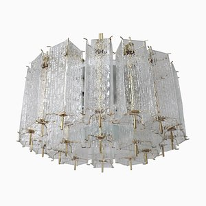 Large Chandelier with Ice Glass Tubes in Brass Fixture, 1960s