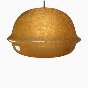 Large Modern Pendant Lamp in Amber Hand Blown Colored Glass, 1970s