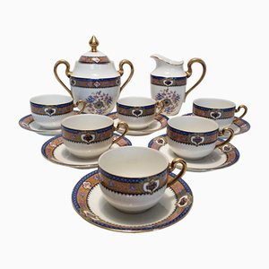 Limoges Porcelain Coffee Set, 1950s, Set of 14