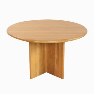 Round Solid Oak Dining Table, 1970s
