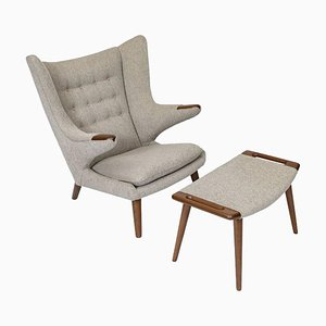 Danish Papa Bear Lounge Chair and Stool Set by Hans J. Wegner for A.P. Stolen, 1950s