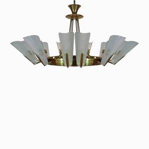 Große vergoldete Vintage Deckenlampe von Fontana Arte, 1950er
