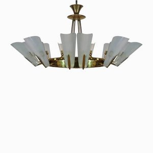 Large Vintage Gold Ceiling Lamp Attributed to Fontana Arte, 1950s