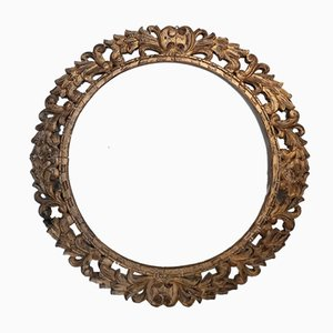 Antique Round Carved Wood Mirror