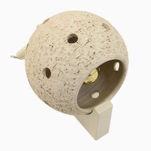 Weiße Mid-Century Kugel-Wandlampe aus Keramik
