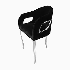 Bespoke Chandra Polished Nickel and Black Velvet Dining Chairs by Koket, Set of 2