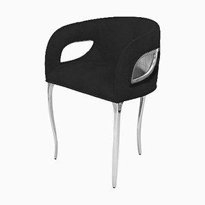 Bespoke Chandra Esszimmerstühle aus schwarzem Samt & poliertem Nickel von Koket, 6er Set