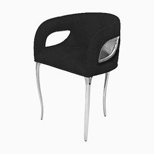 Schwarze Chandra Samt & Nickel Polierte Esszimmerstühle von Koket, 4er Set