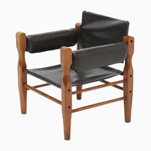 Mid-Century Scandinavian Leather Safari Lounge Chair, 1960s