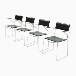 Italienische Leder Esszimmerstühle von Giandomenico Belotti für Alias, 1980er, set of 4
