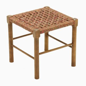 Vintage Scandinavian Oak and Rope Stool, 1950s