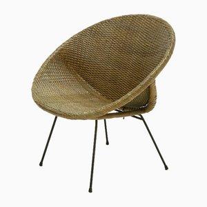 Mid-Century Italian Rattan Lounge Chair, 1950s