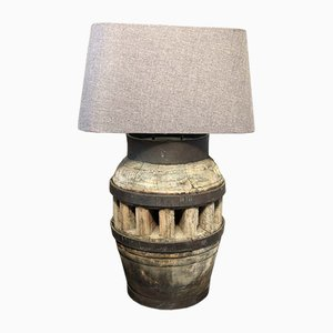Antique Industrial Oak and Iron Table Lamp