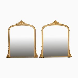 Large Victorian Wall Mirrors, Set of 2