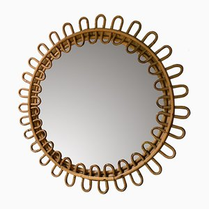 Italian Wicker Mirror, 1960s