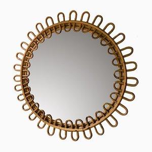 Italienischer Korbgeflecht Spiegel, 1960er