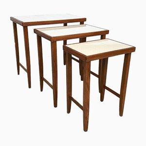 Tables Gigognes Art Nouveau en Céramique, 1920s, Set de 3