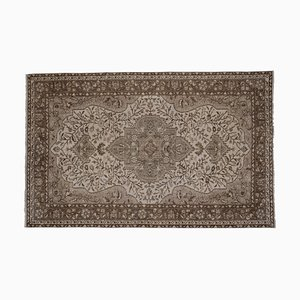Vintage Turkish Floral Rug in Neutral Colors