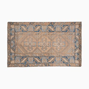 Vintage Traditional Turkish Handmade Blue Oushak Rug