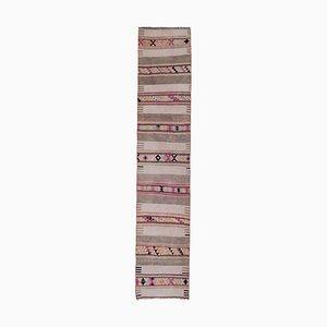 Turkish Long and Narrow Handmade Staircase Woolen Kilim Runner Rug