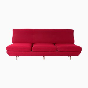 Mid-Century Red Fabric Sleep-o-Matic Sofa Bed by Marco Zanuso, 1954