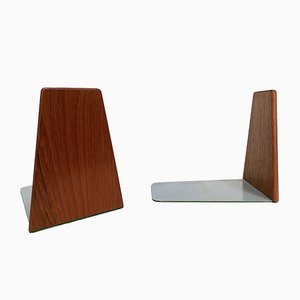 Danish Teak and Metal Bookends, 1960s, Set of 2