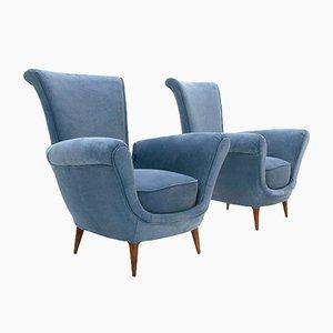 Blaue Italienische Sessel, 1950er, 2er Set