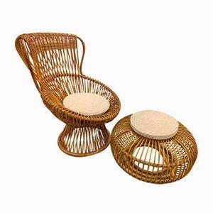 Sessel und Fußhocker Set von Travasa Giovanni, 1960er