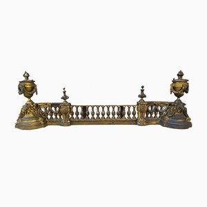 Kamin aus vergoldetem Bronze im Louis XVI Stil aus Andiron