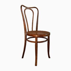 Vintage Austrian Curved Wood and Cane Bistro Chair from Khön