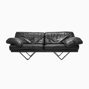 Black Leather 2-Seater Cornelius Sofa from Durlet, 1980s
