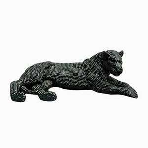 Shiny Black Lion in Polyresine by Zenza Art & Deco