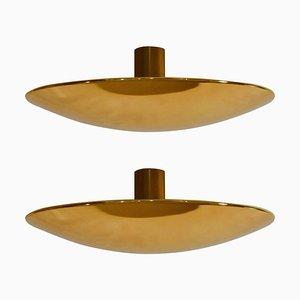 Lampada da soffitto o da parete grande a incasso in ottone di Florian Schulz, anni '70