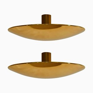 Large Brass Minimal Flush Mount Ceiling or Wall Light by Florian Schulz, 1970s