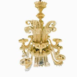 Goldener Kronleuchter von Ercole Barovier, 1960er